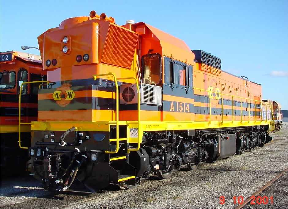 Australia Western Railroad's newly overhauled A1514 looks resplendent in AWR livery at Forrestfield on 9 October 2001
