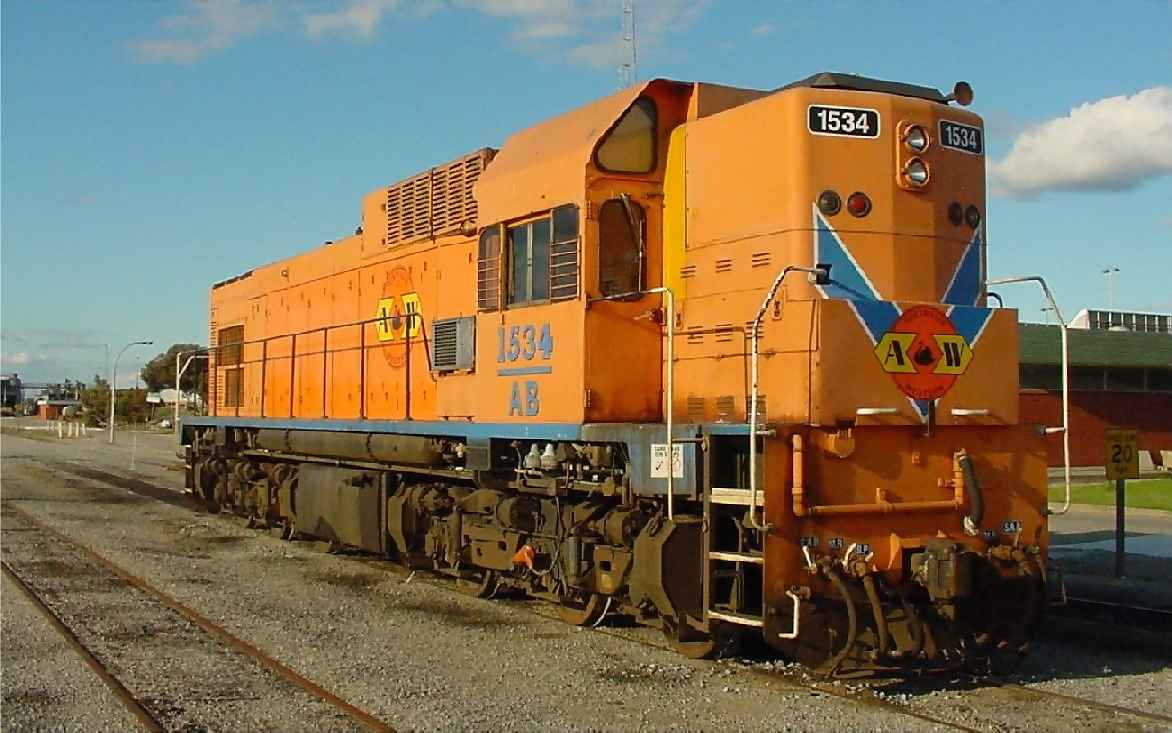 AB1534 in ex Westrail orange livery with the large Westrail name painted out Australia Western Railroad logos applied - seen at Forrestfield on 13 October 2001